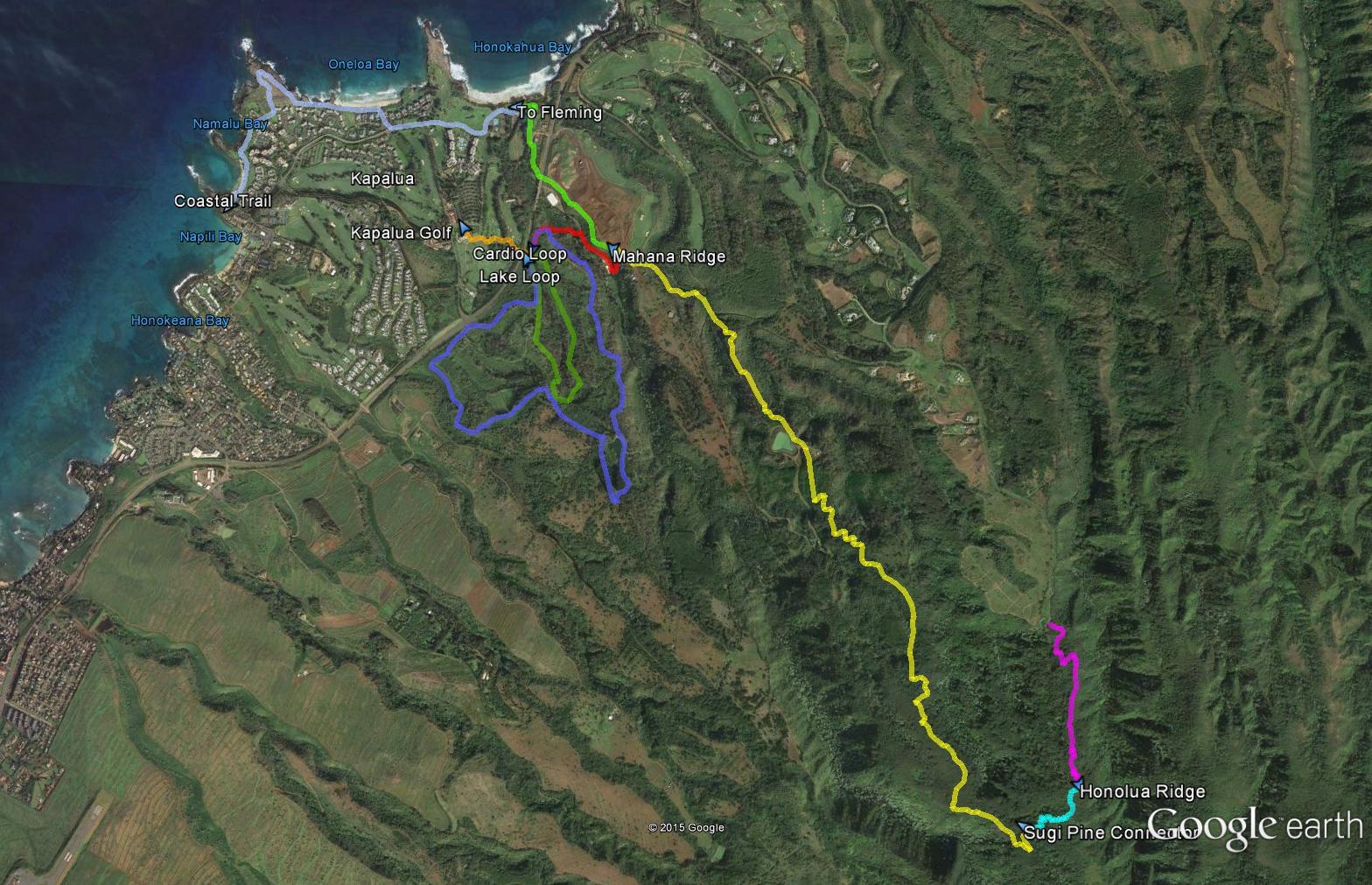 Kapalua Area Hiking Trails - Google maps trails