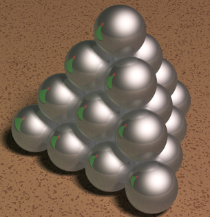 Stack of Silvered Balls