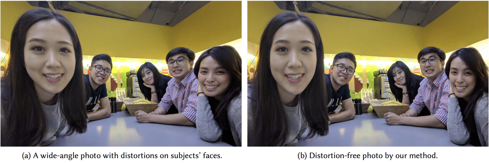 Distortion-Free Wide-Angle Portraits on Camera Phones